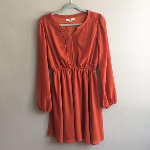 Orange Long Sleeve Dress